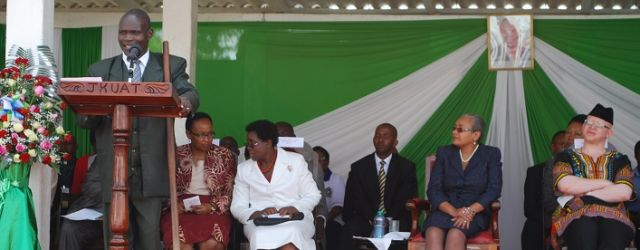 Prof. Mabel Imbuga, JKUAT Vice Chancellor together with First Lady Mama Margaret  Kenyatta during JKUAT Gender Week.