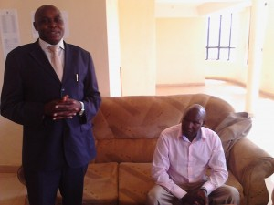 Dr. W.B. Okibo giving his remarks at a welcoming staff meeting