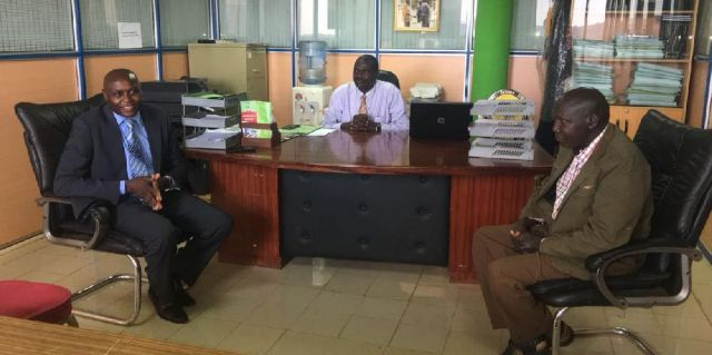 The Kisii County CEC, Administration, Corporate Services and Stakeholders Management, Dr. Walter Okibo paid Kisii CBD campus a courtesy call. On looking are Acting Director, David Omato and Prof. J.K Sigei.