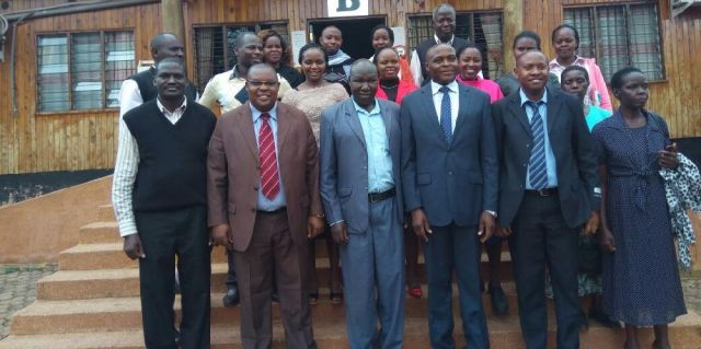 Kisii CBD staff members led by Prof. Johana K. Sigei (Director of the campus), pose for a photo in remembrance of their moments shared while visiting the CEC Administration - Kisii County.