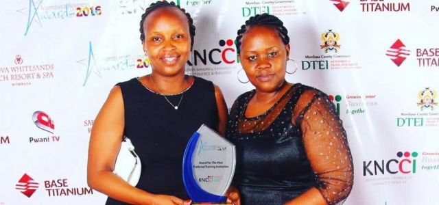 Dr. Fridah and Dr. Irene at the Mombasa Business Awards dinner. JKUAT Mombasa Campus was voted the most preferred training institution in Coast.