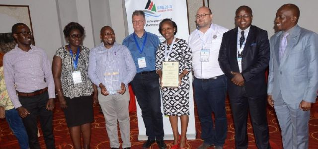 "Director JKUAT Mombasa Campus,receiving an award  during the IAME Conference 2018 for .The Best Paper by an African Scholar""."