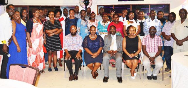 The short courses participants pose for a photo with the JKUAT management during the gala dinner which was held at Pride Inn Hotel,Shanzu.