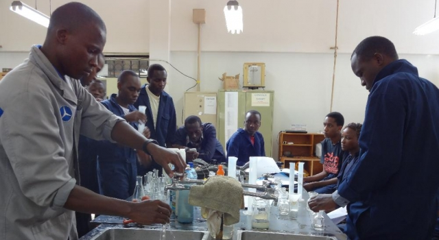 Nakuru CBD Student during a Practical Lesson in Environmental Lab