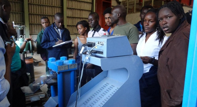 Nakuru CBD Students during a Practical Lesson in Materials & Structural Lab