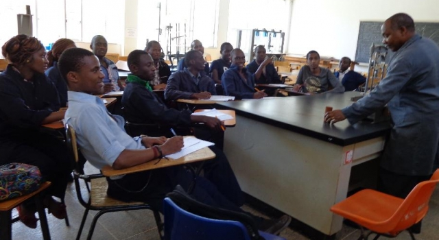 Nakuru CBD Students during Practical Session in Soils Lab