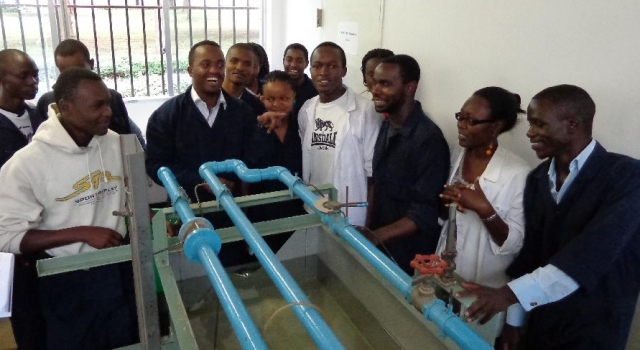Third Year Students [Main Campus] during a Practical Session in Hydraulic Lab