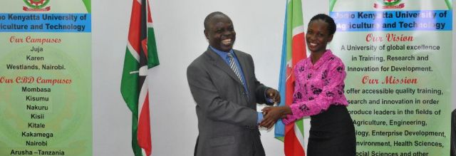 Prof. Odhiambo congratulates Eucabeth - the new Academic Secretary, JKUSO.