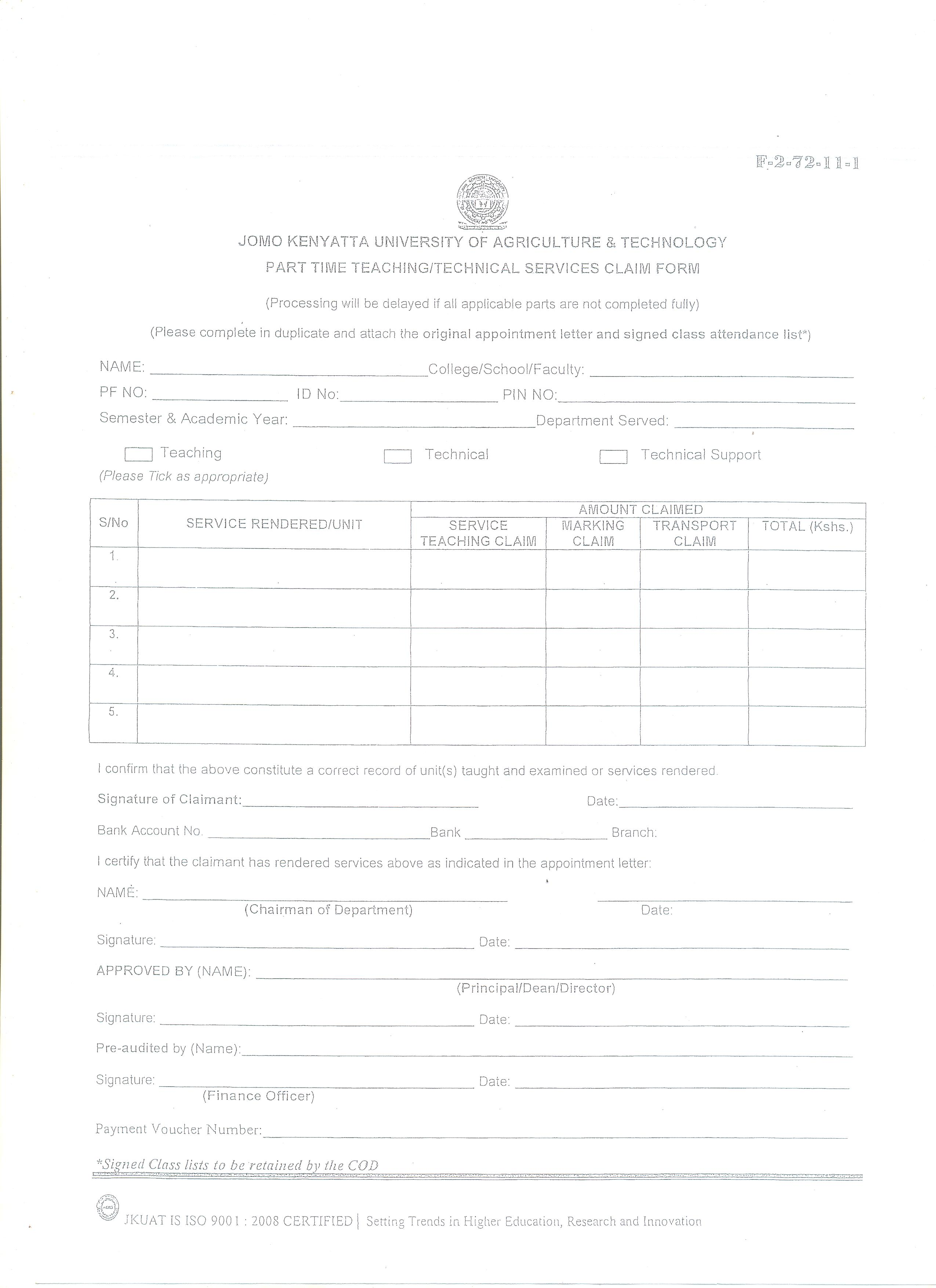 claims form template