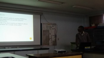 Ng'ethe presenting on the Performance Optimization of a thermosyphon flat plate solar water heater