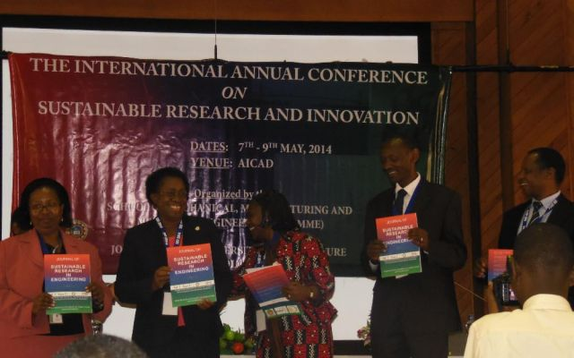 From left, Prof Nyakoe (Dean SoMMME), Prof (Eng) Ikua (Principal CoETEC), Dr Peggy (Chief SRI Guest), Prof Mabel Imbuga (JKUAT Vice Chancellor) and Prof V Ngumi (DVC APD) launch the Journal of Sustainable Research and Engineering (JSRE) on 7 May 2014 at AICAD
