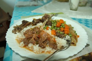Rice and meat is nice