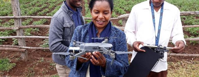 Prof. Mati with team having demonstrations on the use of flight sensors - Smart Water for Agriculture Project