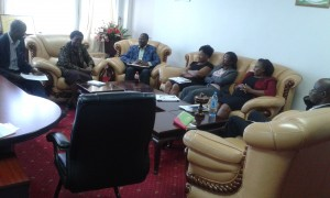 Vice Chancellor Prof. Imbuga meets the visiting PCD team in her office.