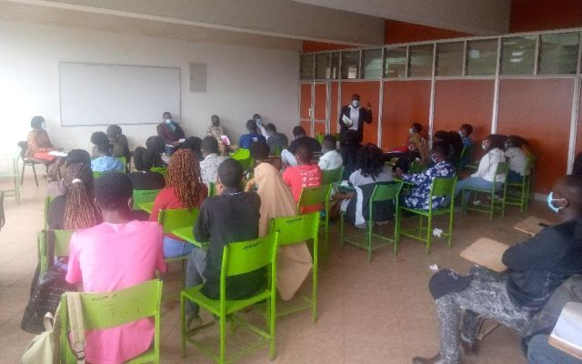 School of Pharmacy lecturers taking first years through orientation.