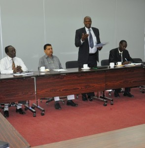 Prof. Mulati addressing participants during the launch of Aluminium Systems and Fabrication course with Mr Shah (second left) and Prof. Ikua far right