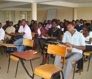 A section of students in Kisumu campus keenly listen to Ombudsman's counsel