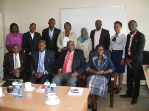 JKUSO leadership pose for a group photo with Prof. Maloiy and-Prof. Imbuga with other senior university officials