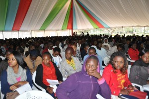 A section of the first year students attentively follow the VC's address