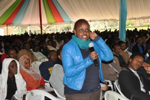 Rayana King'ara makes her contribution during the function