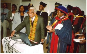 Prof. Mazrui presides over the official launch of JKUAT website.