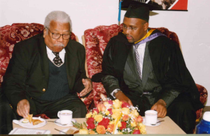 Prof. Mazrui sharing a word with the then Council Chairman, Adan Mohammed before his inauguration as Chancellor.
