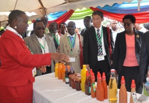 Chief Food Technologist Everlyn Okoth explains the production of cactus products to the guests