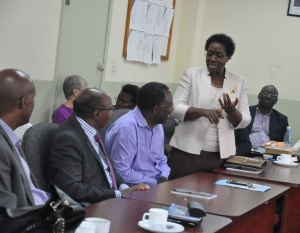 Prof. Imbuga with a section of participants