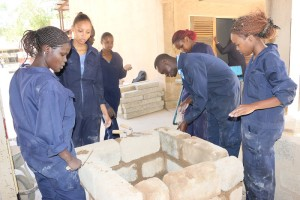 Secong Year students of Quantity Survey building a manhole during the building services practical at the Engineering Workshops