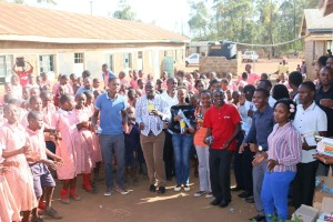 JKUAT students join the pupils during a musical performace