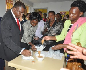 Yummy! the Diplomats get a taste of nyama Choma flavoured noodles produced at JKUAT