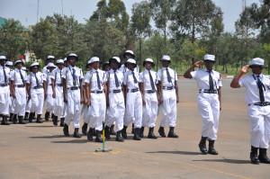 The newly graduated cadets march during the pass out parade ceremony