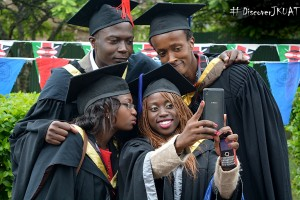 Wedding, Portrait and Graduands take a celebratory selfie after the conferment of degree