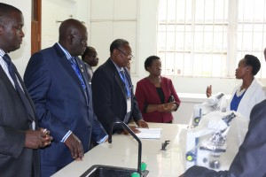 Dr. Serah Kaggia (right) explain a point to the board chair, Prof. Ngassapa (third Left). Looking on (from left) is Dr. Thuo, Prof. Magoha and Prof. Imbuga.
