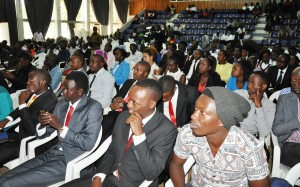 A section of the students follow the inauguration proceedings at Assembly Hall