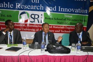 Dr. Manu Chandaria (centre) makes a point as prof. Odhiambo (right) and Prof. Ikua follow