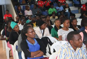 A section of the students following proceedings during the Fair