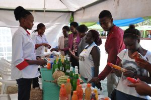 Council members and a section of the participants admire food science products during the open day