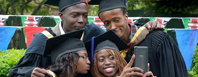 Graduands take a celebratory selfie after the conferment of degree