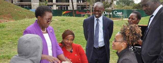 Vice Chancellor, Prof. Mabel Imbuga Interacts with students at the Cherry Park.