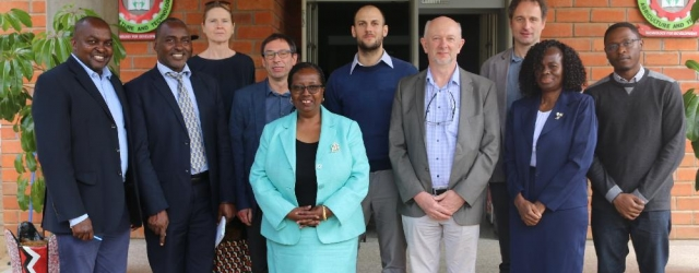 Vice Chancellor, Prof. Victoria Wambui Ngumi (center) joins the Joint Steering Committee of the Legume Centre of Excellence for Food and Nutrition Security (LCEFoNS) led by Prof. Marc Hendrickx (Front row 3rd right) for a commemorative group photo when the team paid a courtesy call on the Vice Chancellor.