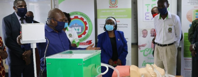 JKUAT's Engineer Kabini Karanja demonstrates how the portable prototype ventilator developed by a multidisciplinary team of Engineers and medical experts from JKUAT works.